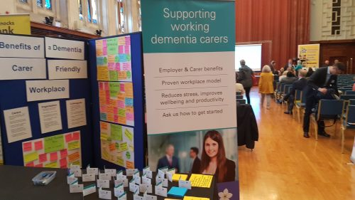 The 4 Dementia Carers stand was in an excellent position beside the main gangway at the back of the hall